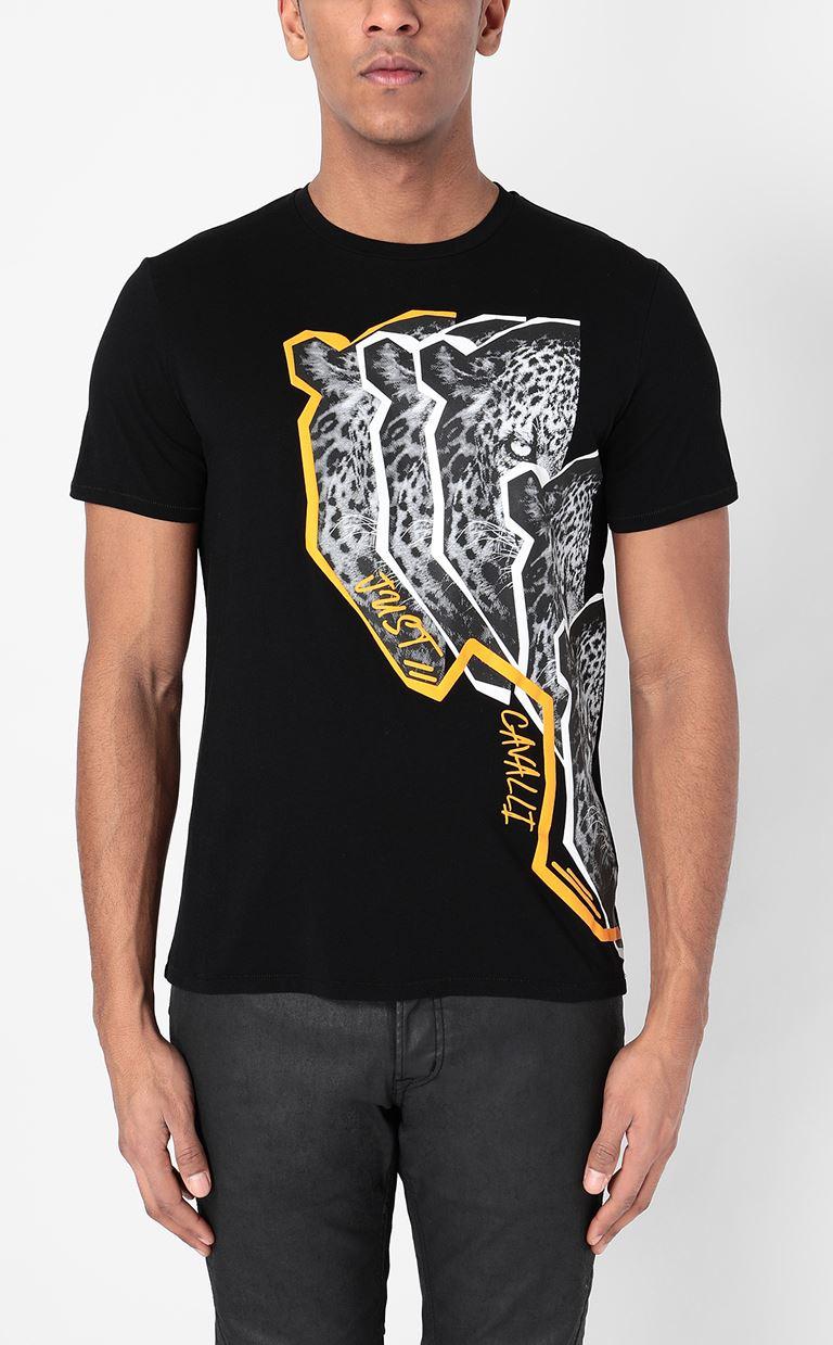 JUST CAVALLI T-shirt with Leo print Short sleeve t-shirt Man r