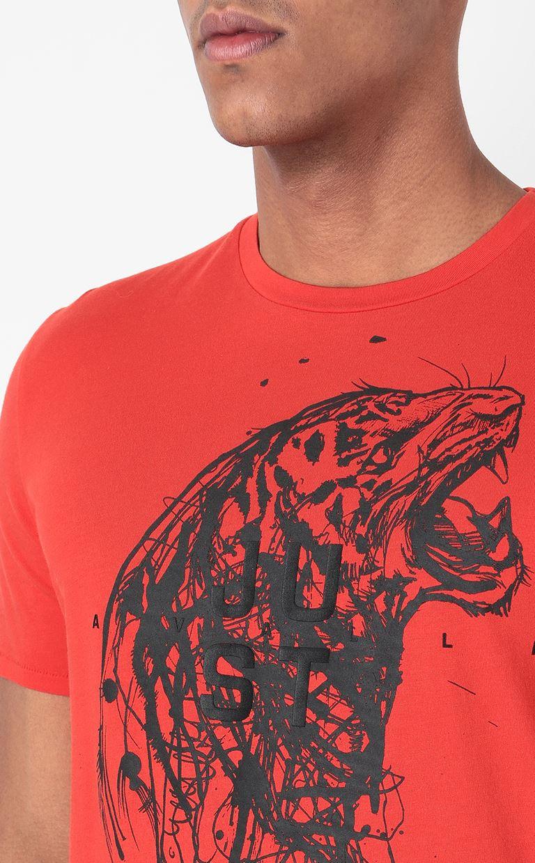 JUST CAVALLI T-shirt with Tiger print Short sleeve t-shirt Man e