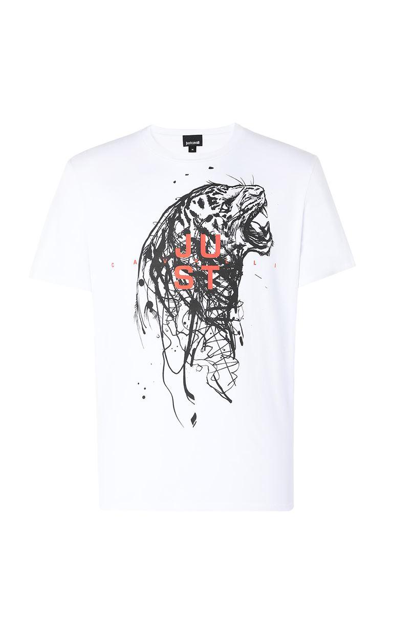 JUST CAVALLI T-shirt with Tiger print Short sleeve t-shirt Man f