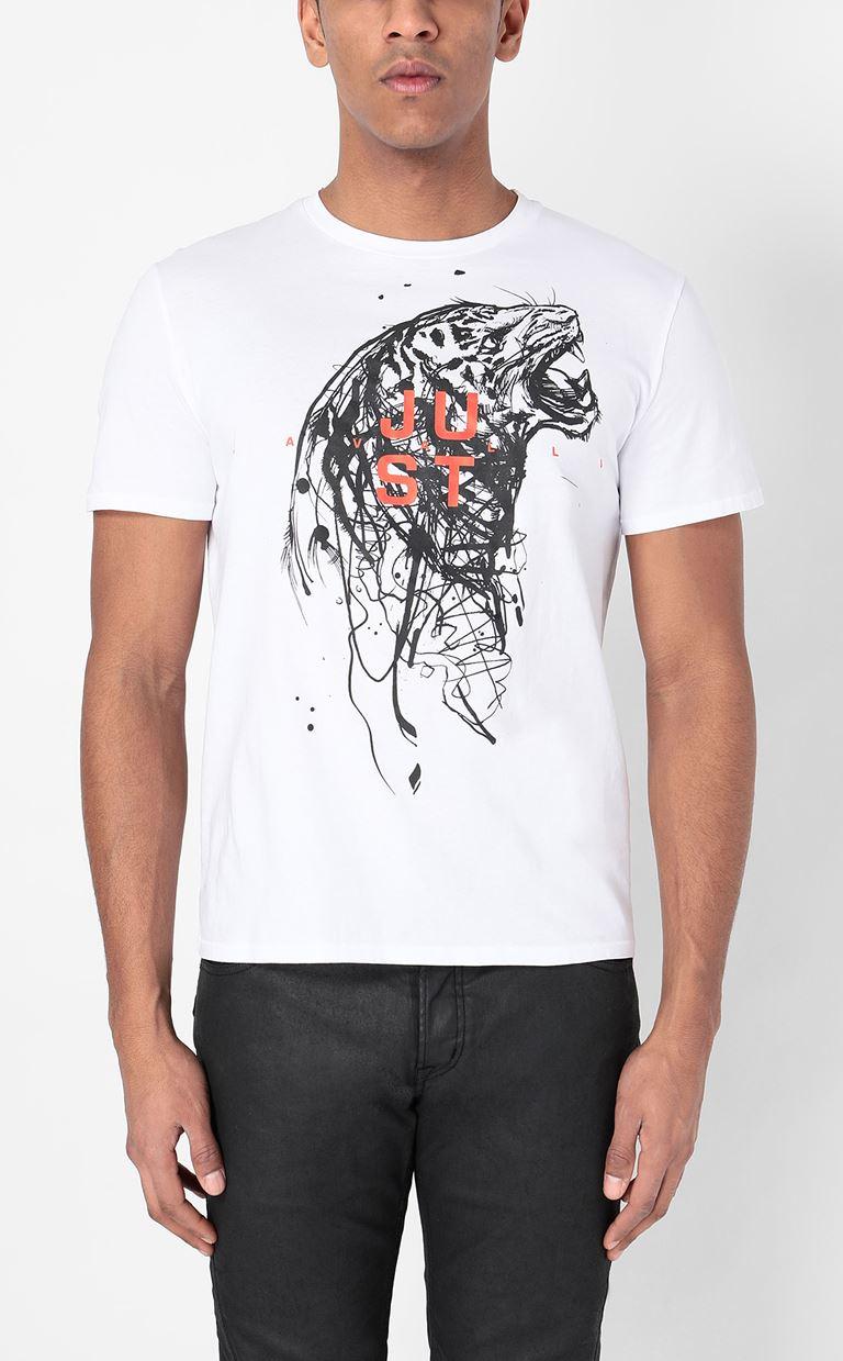JUST CAVALLI T-shirt with Tiger print Short sleeve t-shirt Man r