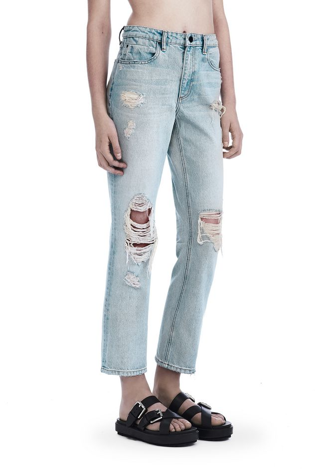ALEXANDER WANG denim-x-aw DESTROYED CULT STRAIGHT LEG JEAN