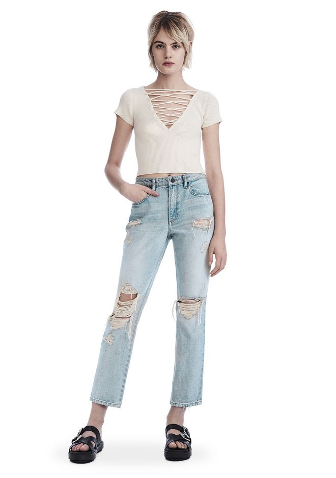 ALEXANDER WANG DESTROYED CULT STRAIGHT LEG JEAN   DENIM Adult 12_n_f