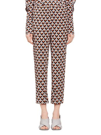 Marni Pants in silk with Portrait print Woman