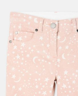 Pantalon Nina en velours côtelé rose avec imprimé planètes