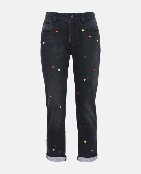 Skinny Boyfriend Heart Embroidery Jeans