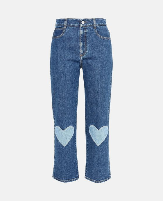High Waist Cropped Heart Embroidery Jeans