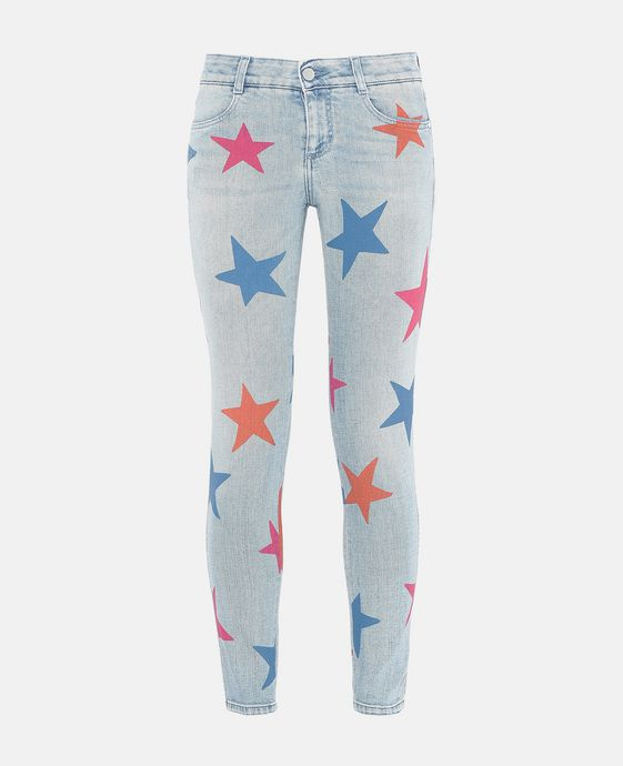 Jeans Skinny Ankle Grazer con Stampa Stelle Multicolor