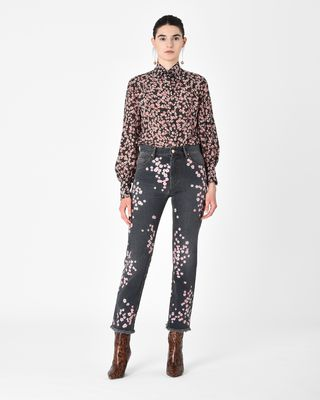 HOLAN floral embroidered jeans