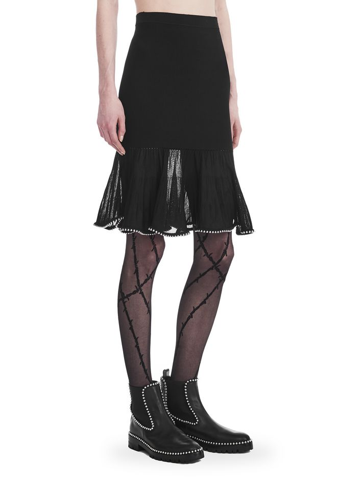 ALEXANDER WANG JUPES Femme KNEE LENGTH SKIRT WITH RUFFLED BALL CHAIN HEM