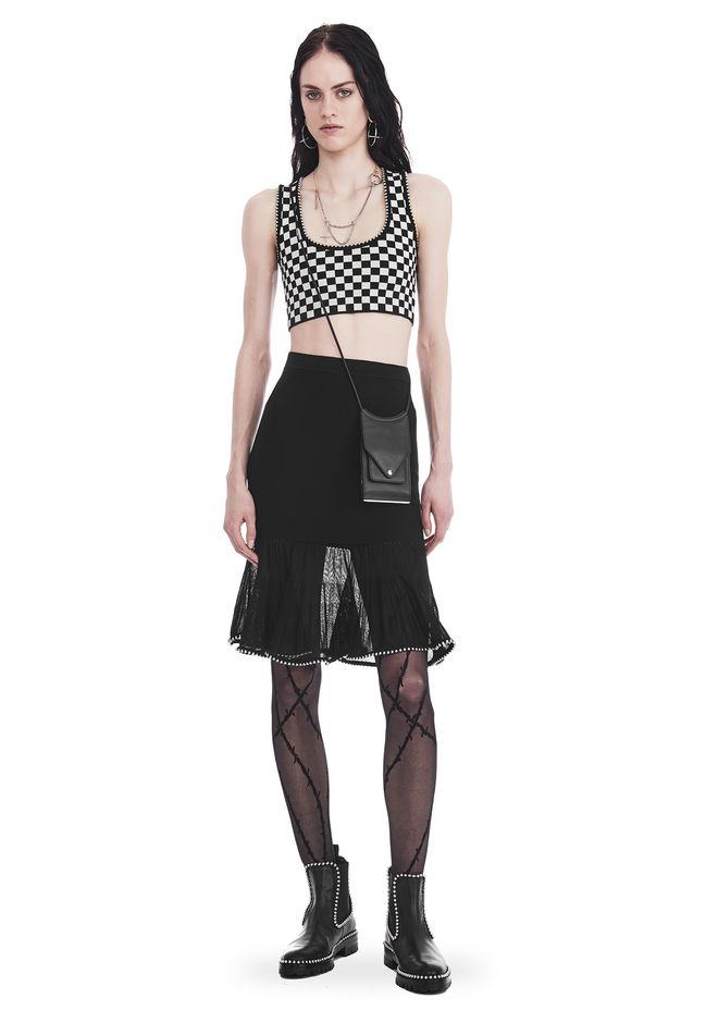 ALEXANDER WANG SKIRTS KNEE LENGTH SKIRT WITH RUFFLED BALL CHAIN HEM