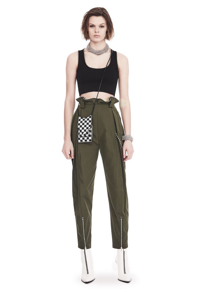 ALEXANDER WANG PANTS HIGH WAISTED ARMY PANTS WITH BALLCHAIN
