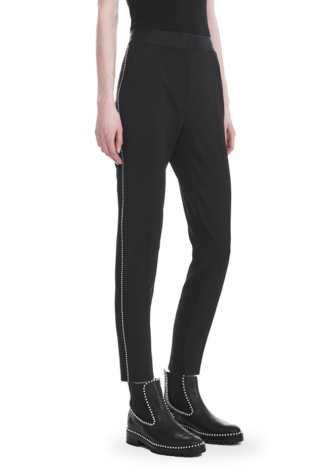 ALEXANDER WANG PANTS Women SLIM FIT TROUSERS WITH BALL CHAIN TRIM