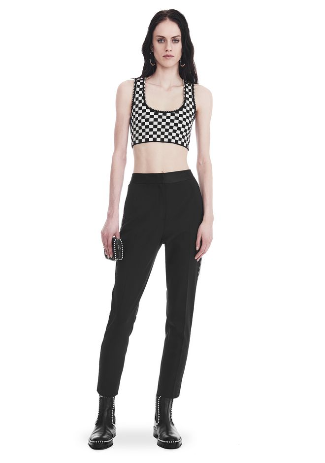 ALEXANDER WANG PANTS SLIM FIT TROUSERS WITH BALL CHAIN TRIM