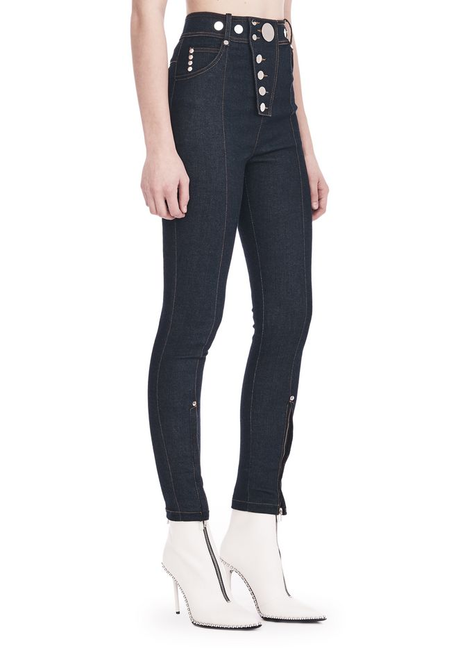 ALEXANDER WANG PANTALONS Femme HIGH-WAISTED DENIM LEGGINGS WITH MULTI-SNAP DETAIL