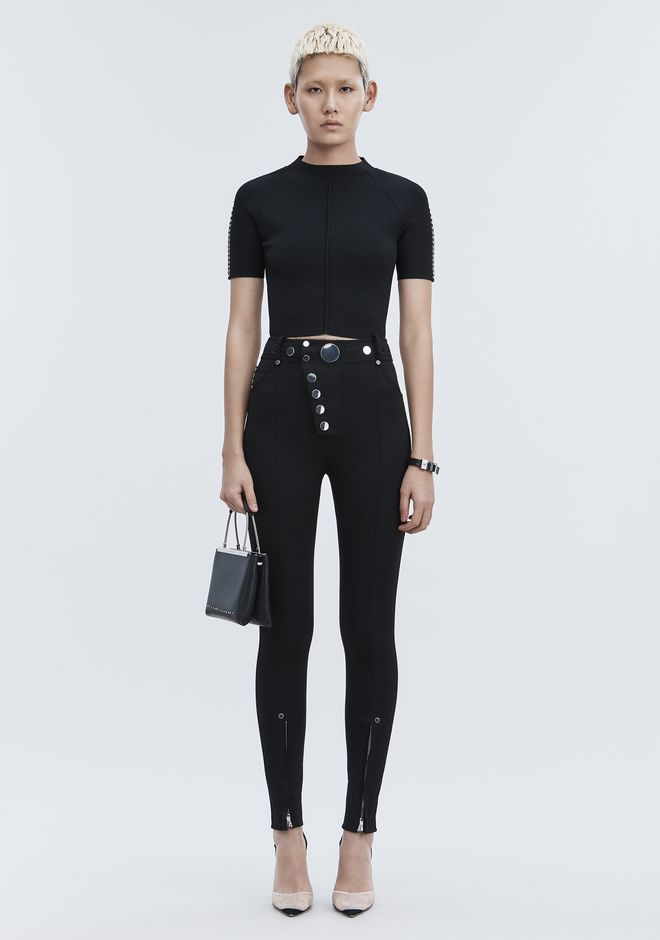 ALEXANDER WANG PANTS HIGH-WAISTED LEGGINGS WITH MULTI-SNAP DETAIL