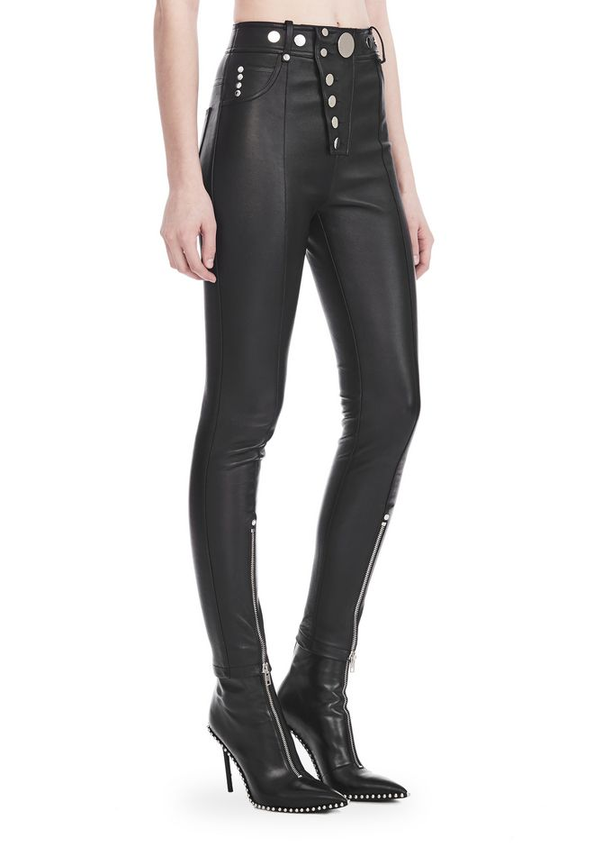 ALEXANDER WANG PANTS Women HIGH-WAISTED LEATHER LEGGINGS WITH MULTI-SNAP DETAIL