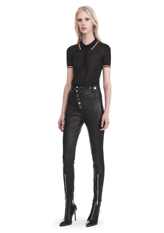 ALEXANDER WANG PANTS HIGH-WAISTED LEATHER LEGGINGS WITH MULTI-SNAP DETAIL