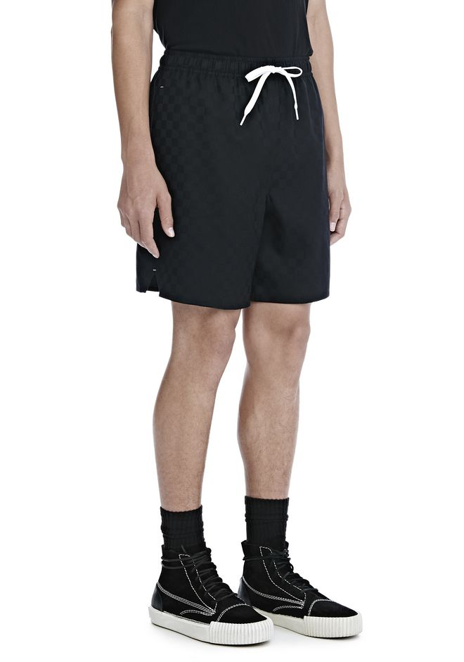ALEXANDER WANG SHORTS Men CHECKERBOARD WOOL JACQUARD SOCCER SHORTS