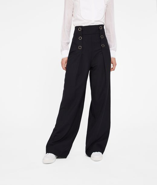 KARL LAGERFELD High-Waisted Wide Leg Pants 12_f