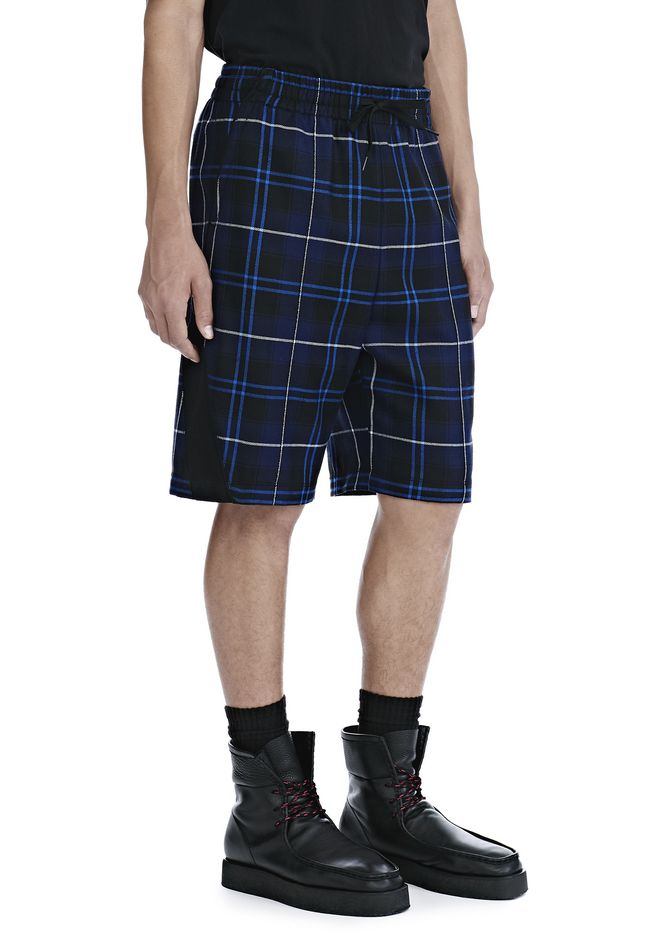 ALEXANDER WANG SHORTS Men WOOL TARTAN BASKETBALL SHORTS
