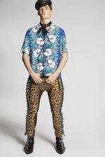 DSQUARED2 Leopard Biker Pants Trousers Man