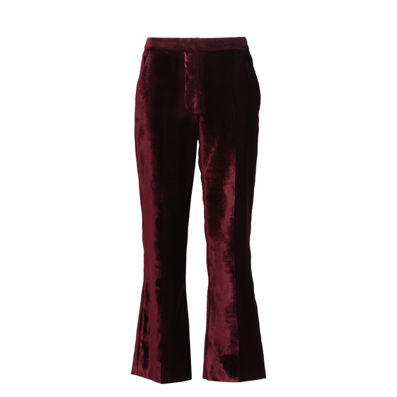 Burgundy Velvet Cropped Pants