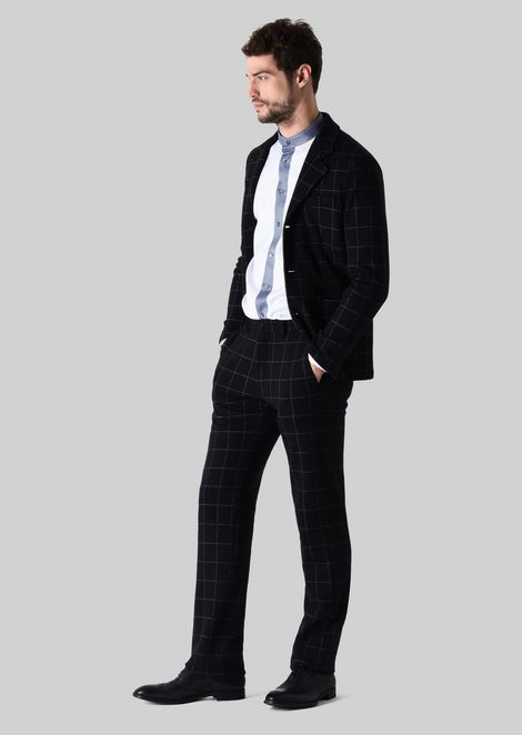 CASUAL TROUSERS IN COTTON AND WOOL JERSEY