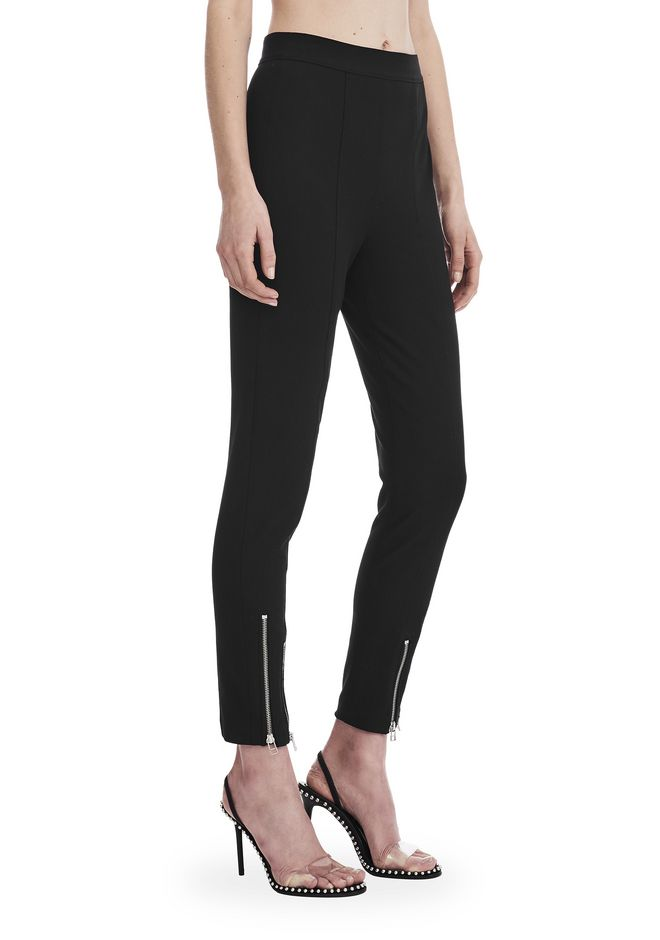 T by ALEXANDER WANG PANTS SUPER STRETCH COTTON PANTS WITH ANKLE ZIPPERS
