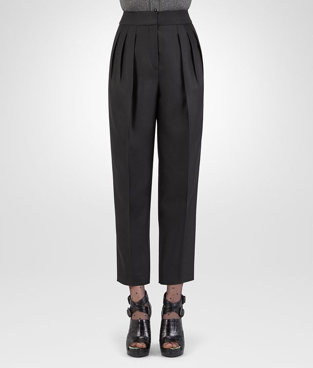 BOTTEGA VENETA NERO SILK COTTON TWILL PANT Skirt or trouser D fp