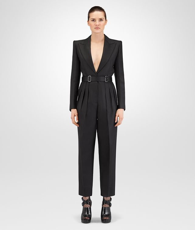 BOTTEGA VENETA NERO SILK COTTON TWILL JUMPSUIT Dress Woman fp
