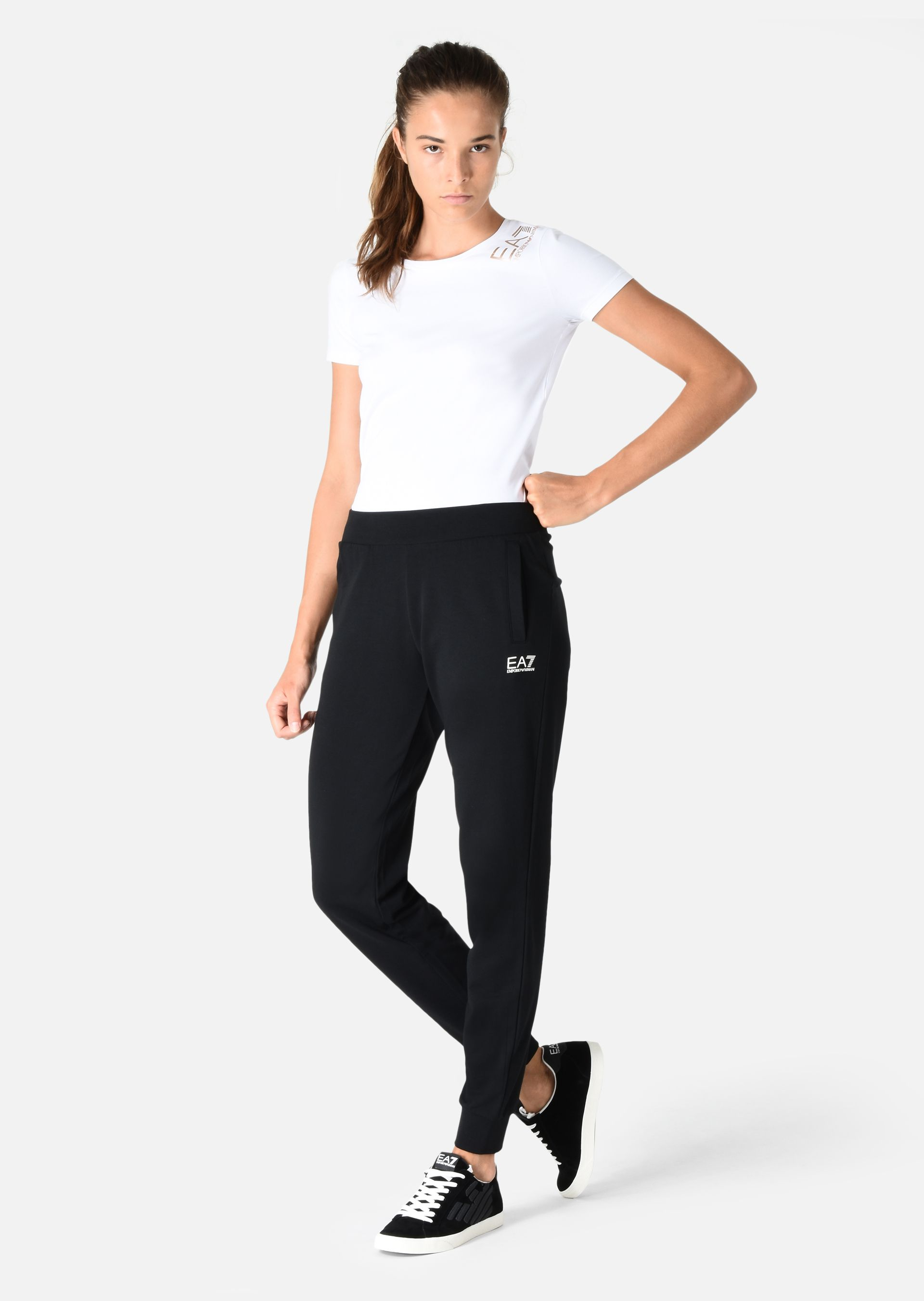 EMPORIO ARMANI Jogging trousers in stretch cotton Sweatpants D f