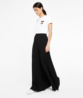 KARL LAGERFELD PLEATED WIDE LEG TROUSERS