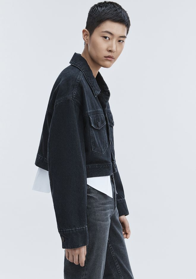 ALEXANDER WANG denim-x-aw BLAZE CROP OVERSIZED DENIM JACKET