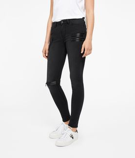 KARL LAGERFELD SLIM BIKER DENIM W/ SATIN ZIPPERS
