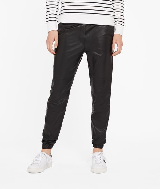 KARL LAGERFELD Leather Track Pants 12_f