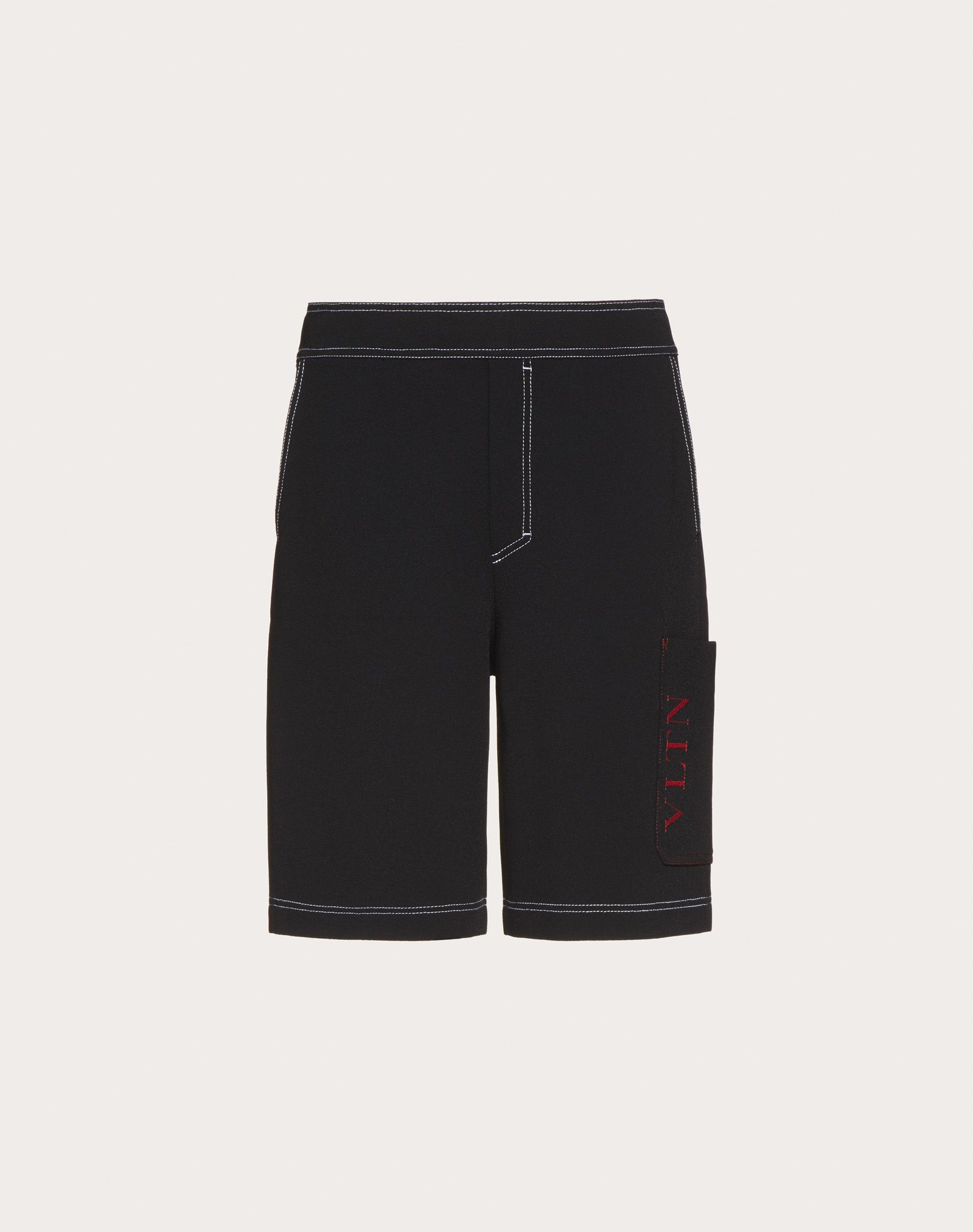 VALENTINO UOMO Cropped knit trousers with VLTN logo Shorts U f