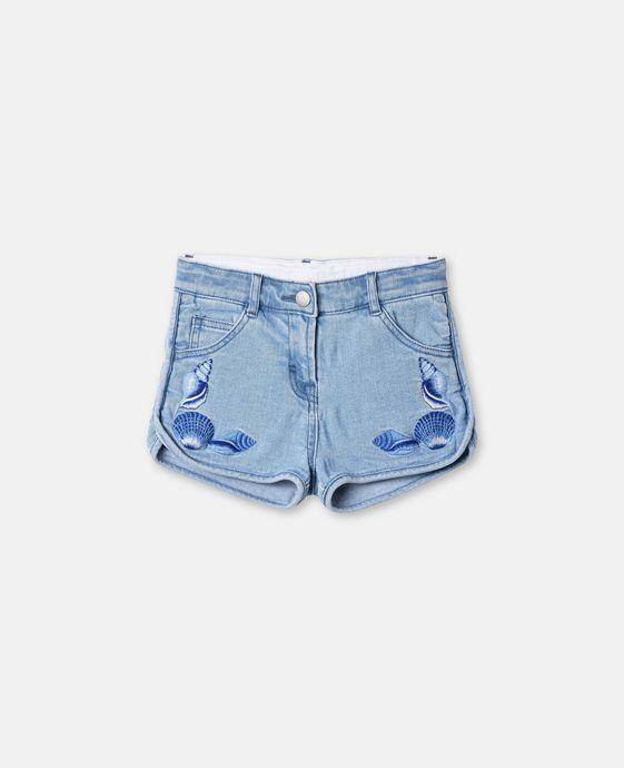 Emma Shells Embroidery Denim Shorts