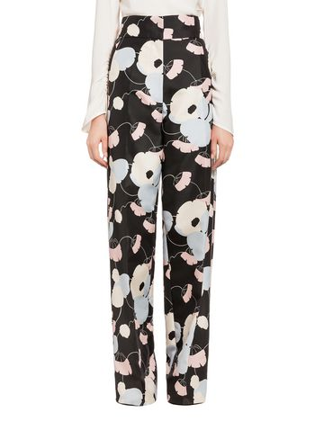 Marni Cotton silk pants with Havana print Woman