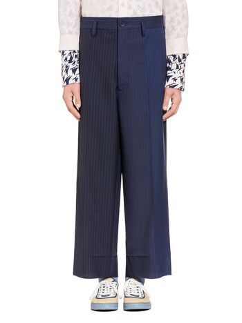 Marni Blue pants in pinstriped wool Man