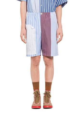 Marni Patchwork shorts in pinstriped cotton Man