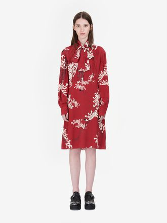 """Japanese Floral"" Pin Tuck Dress"