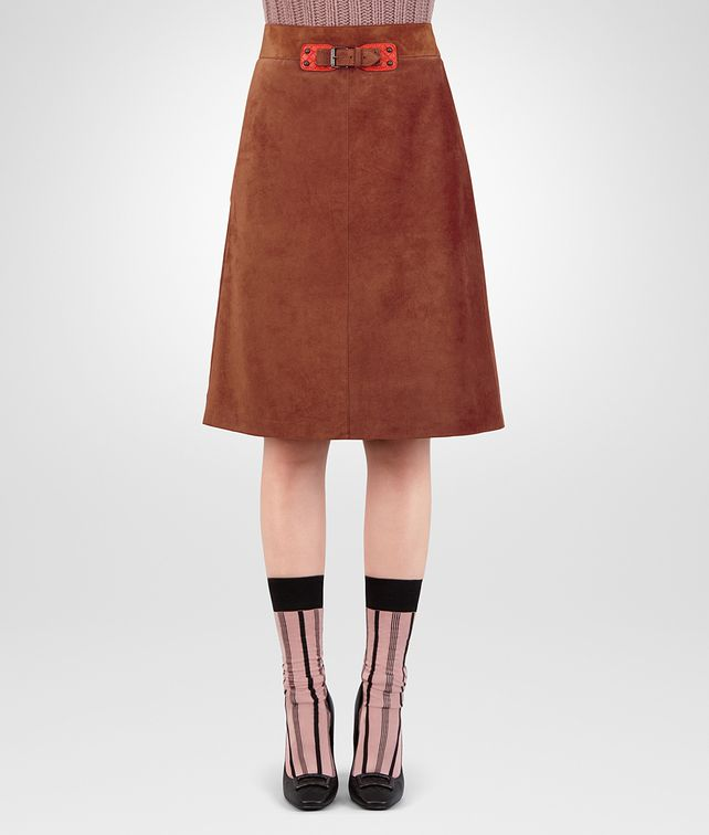 BOTTEGA VENETA CALVADOS CALF SUEDE SKIRT Skirt or trouser [*** pickupInStoreShipping_info ***] fp