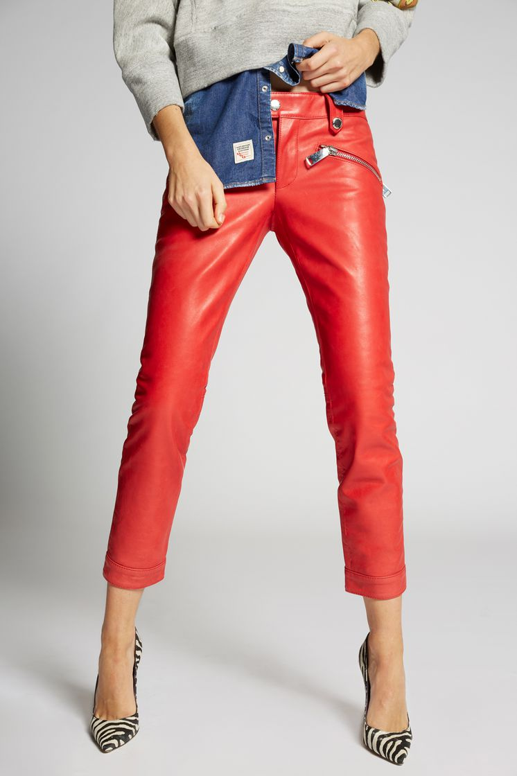 DSQUARED2 Zip Pockets Cool Girl Leather Pants Leather trousers Woman