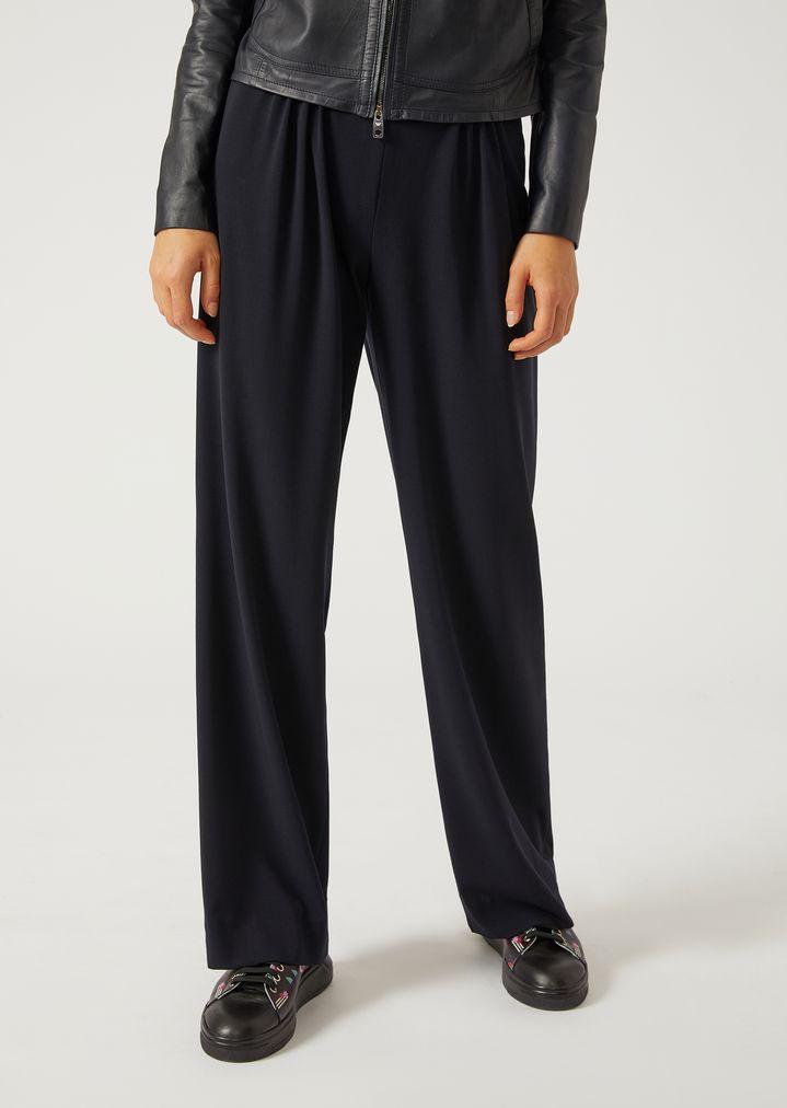 f21d10b822 Pantaloni con pinces in fresco lana | Donna | Emporio Armani