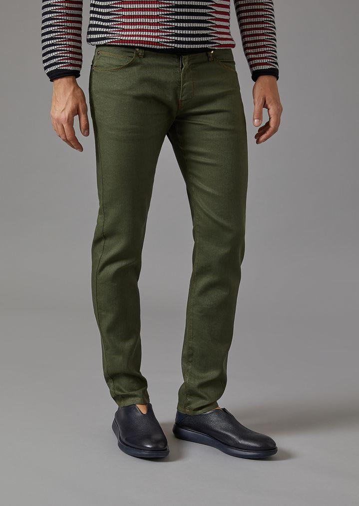 GIORGIO ARMANI Pantalon cinq poches en coton et lin Jean slim Homme f ...