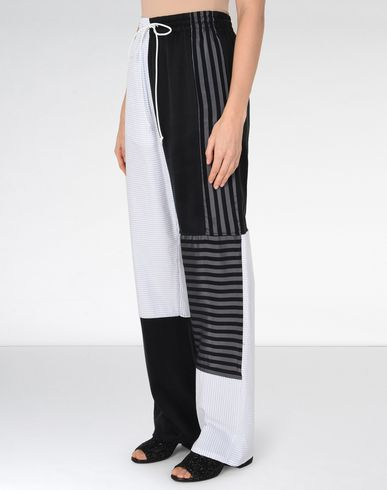 MM6 MAISON MARGIELA Casual pants Woman Cotton stripe patchwork trousers f