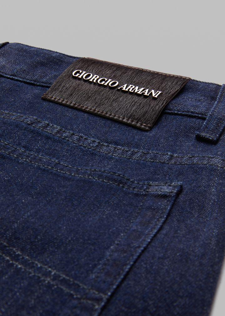 GIORGIO ARMANI Stretch cotton five-pocket jeans Slim Jeans Man b