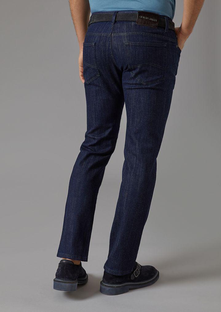 GIORGIO ARMANI Stretch cotton five-pocket jeans Slim Jeans Man e