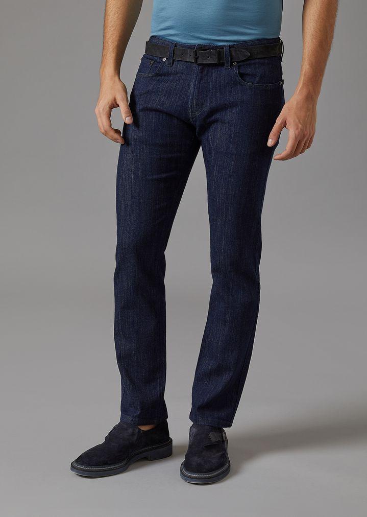GIORGIO ARMANI Stretch cotton five-pocket jeans Slim Jeans Man f