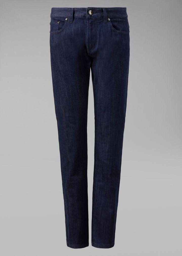 GIORGIO ARMANI Stretch cotton five-pocket jeans Slim Jeans Man r